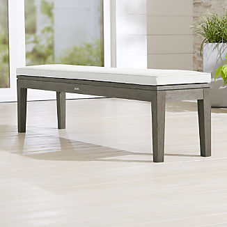 Regatta Grey Wash Dining Bench with White Sand Sunbrella ® Cushion