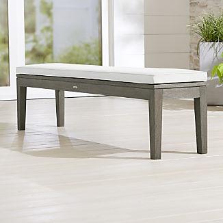Regatta Grey Wash Dining Bench with White Sand Sunbrella ® Cushion