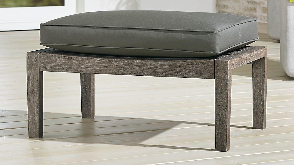 Regatta Grey Wash Ottoman with Graphite Sunbrella ® Cushion - Image 1 of 4
