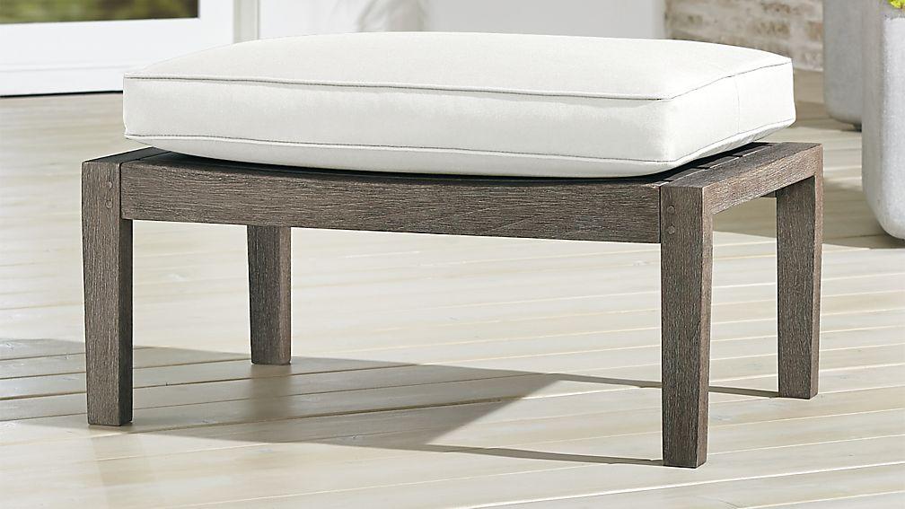 Regatta Grey Wash Ottoman with White Sand Sunbrella ® Cushion - Image 1 of 3