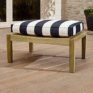 Regatta Natural Ottoman with Cabana Stripe Navy Sunbrella ® Cushion