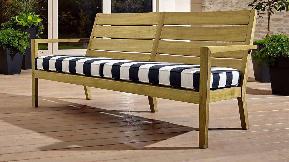 Regatta Natural Sofa with Cabana Stripe Navy Sunbrella ® Cushion - Image 1 of 7