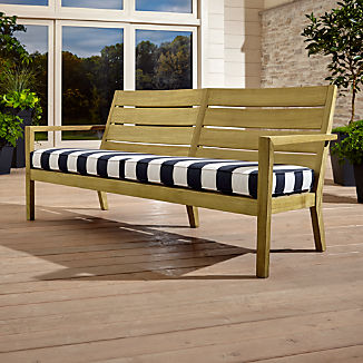 Regatta Natural Sofa with Cabana Stripe Navy Sunbrella ® Cushion