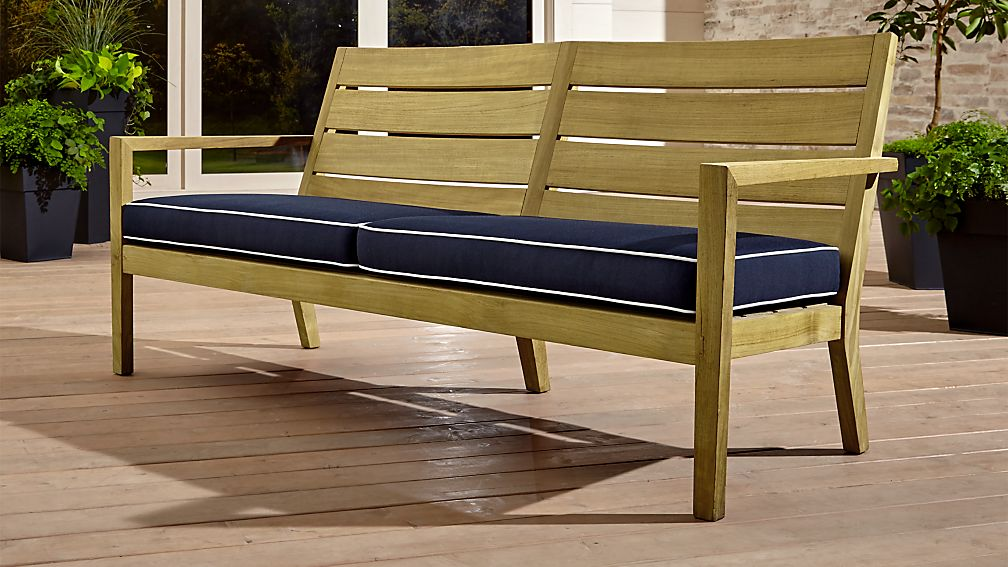 Regatta Natural Sofa with Navy Sunbrella ® Cushion - Image 1 of 6