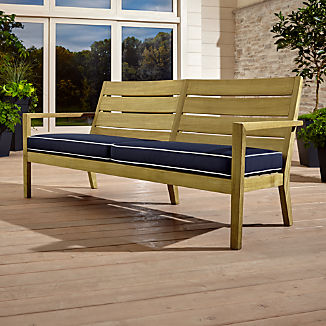 Regatta Natural Sofa with Navy Sunbrella ® Cushion