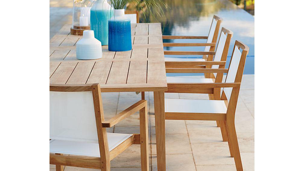 Regatta Teak Outdoor Dining Table Crate and Barrel : RegattaWhtMshDngChrOFRG16 from www.crateandbarrel.com size 1008 x 567 jpeg 60kB