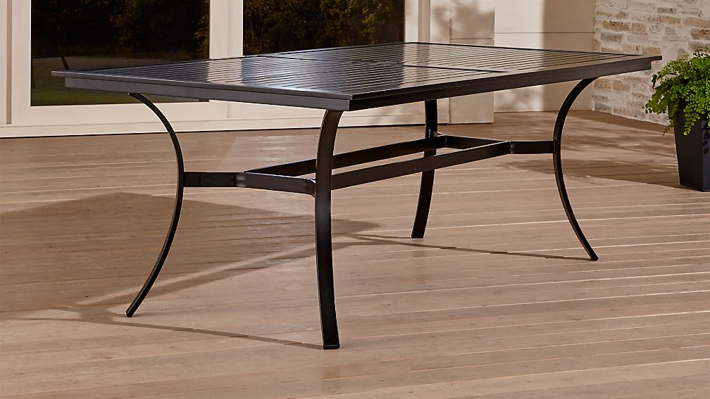 Regent aluminum outdoor dining table crate and barrel for Metal patio tables sale