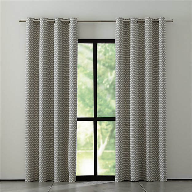 Reilly Grey Chevron Curtains - Image 1 of 10