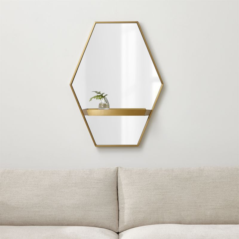 reina brass wall mirror with shelf reviews crate and. Black Bedroom Furniture Sets. Home Design Ideas
