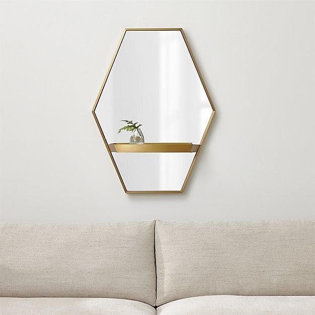 Reina Brass Wall Mirror with Shelf - Image 1 of 6