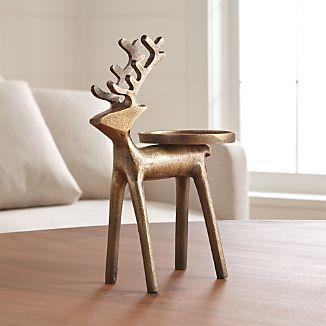 Brass Reindeer Pillar Candle Holder