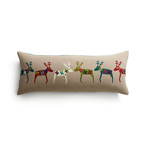 "Reindeer 30""x12"" Pillow with Down-Alternative Insert"