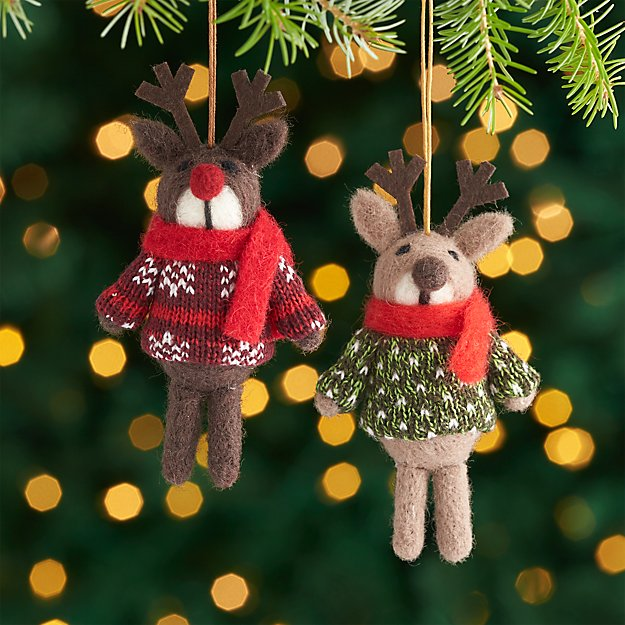 Brown Reindeer Ornaments with Sweaters