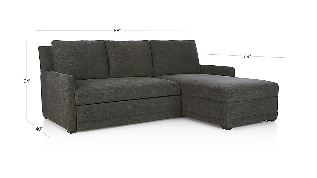 TAP TO ZOOM Image With Dimension For Reston 2 Piece Right Arm Chaise  Trundle Sleeper Sectional Sofa