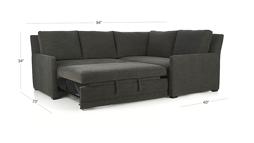 TAP TO ZOOM Image With Dimension For Reston 2 Piece Right Arm Corner Trundle  Sleeper Sectional Sofa