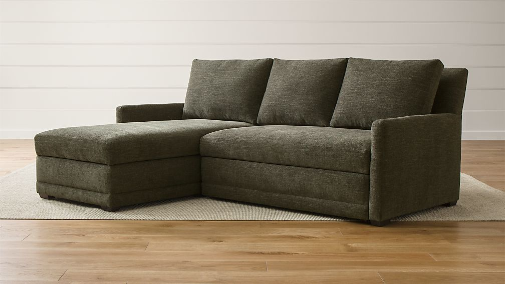 Reston 2-Piece Left Arm Chaise Trundle Sleeper Sectional Sofa + ...