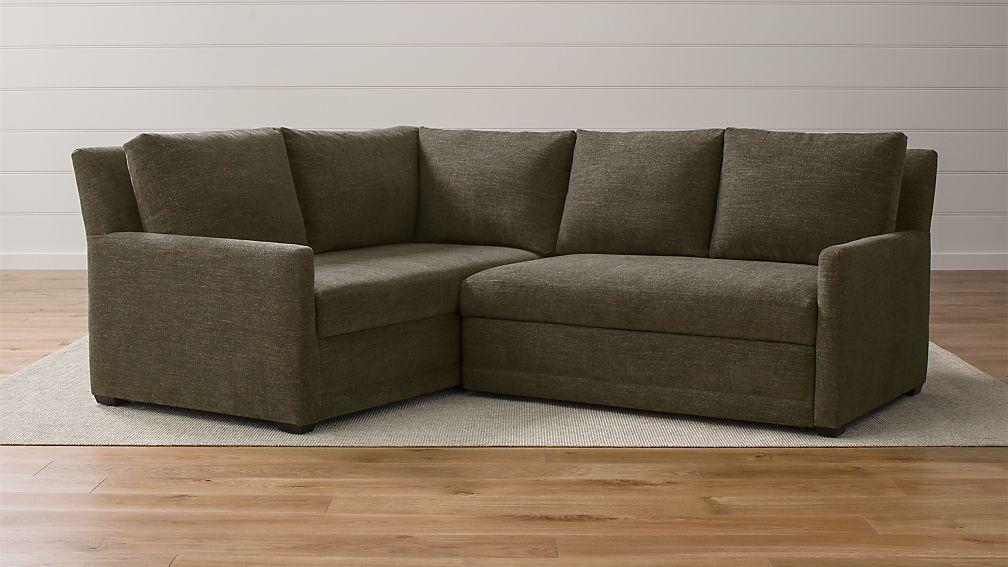 Reston 2 Piece Left Arm Corner Trundle Sleeper Sectional Sofa Crate And Barrel