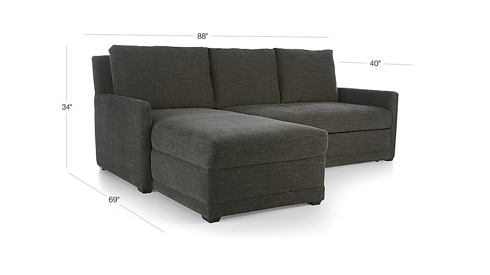 TAP TO ZOOM Image With Dimension For Reston 2 Piece Trundle Sleeper  Sectional Sofa With Left Arm Storage