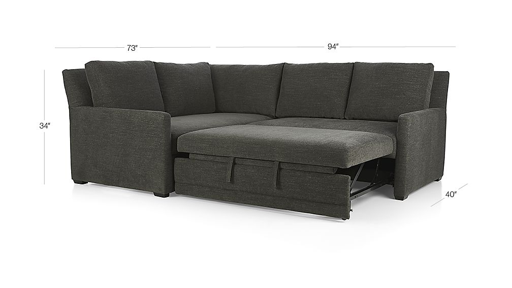 TAP TO ZOOM Image With Dimension For Reston 2 Piece Left Arm Corner Trundle Sleeper  Sectional Sofa