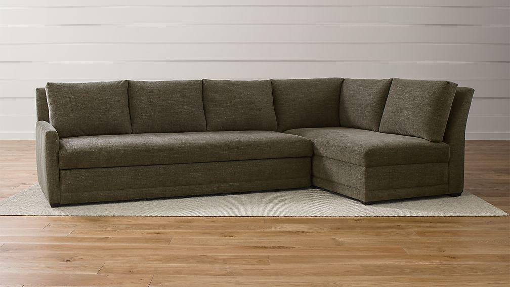 Sectional Sleeper Sofa.Reston 2 Piece Right Arm Bumper Trundle Sleeper Sectional Sofa