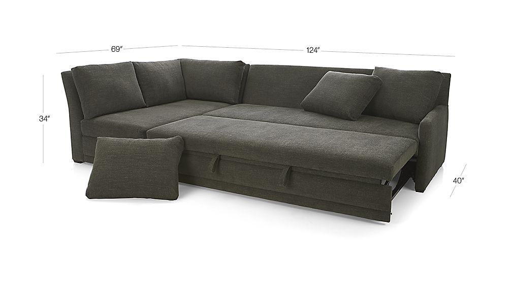 TAP TO ZOOM Image With Dimension For Reston 2 Piece Left Arm Bumper Sleeper  Sectional Sofa