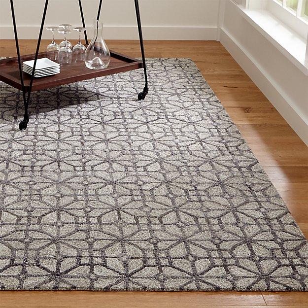 Rhea Graphite Grey Wool-Blend Rug