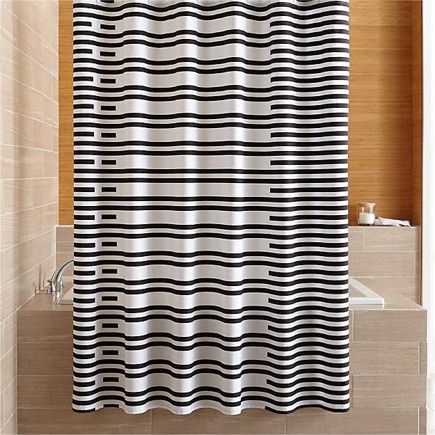 Rhesi Black and White Stripe Shower Curtain - Image 1 of 3