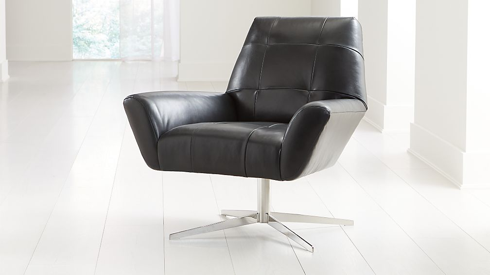 Rhodes Swivel Leather Lounge Chair - Image 1 of 7