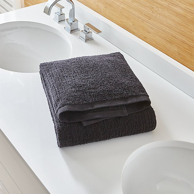 Ribbed Black Bath Towel
