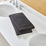 Ribbed Black Hand Towel