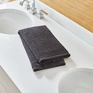Ribbed Black Hand Towel