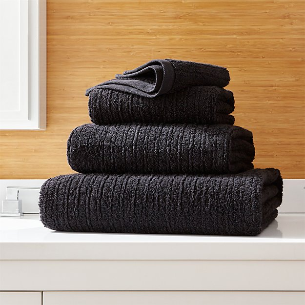 Ribbed Black Bath Towels