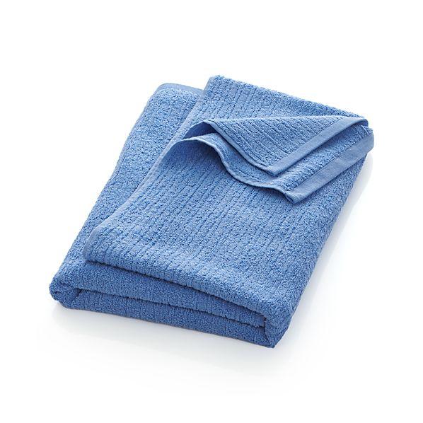 Ribbed Blue Bath Sheet
