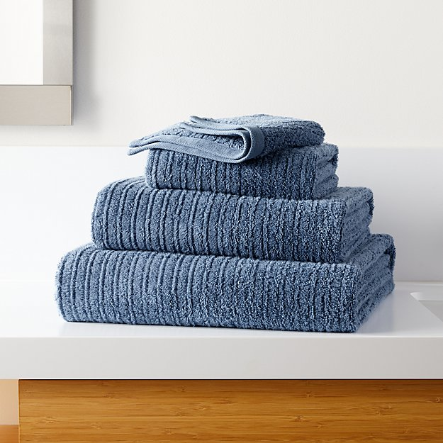 Ribbed Blue Bath Towels - Image 1 of 2