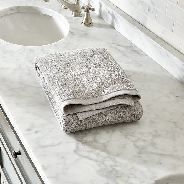 Ribbed Grey Bath Towel