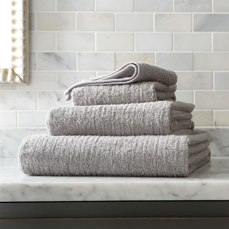 Ribbed Grey Bath Towels