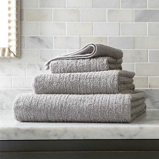 Ribbed Grey Bath Towels Crate and Barrel