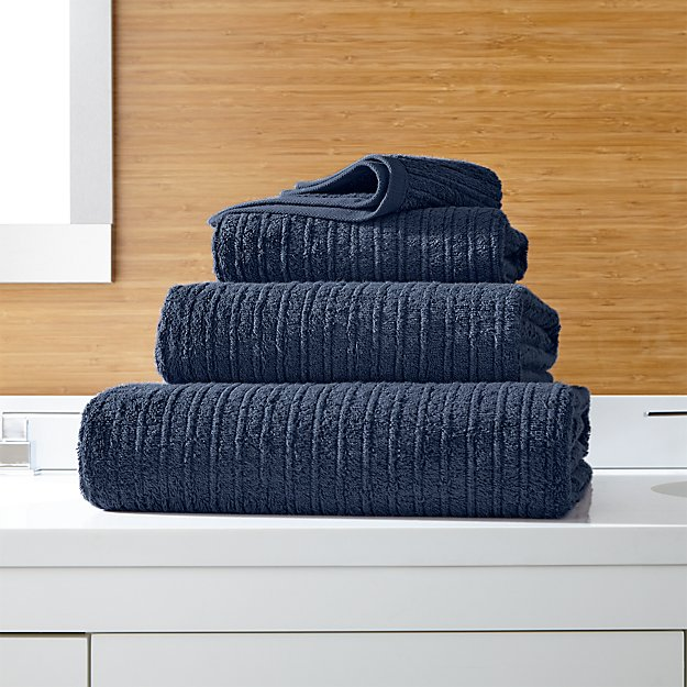 Ribbed Ink Blue Bath Towels - Image 1 of 5