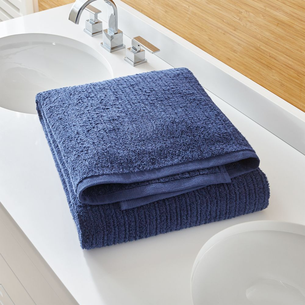 Ribbed Midnight Bath Sheet - Crate and Barrel