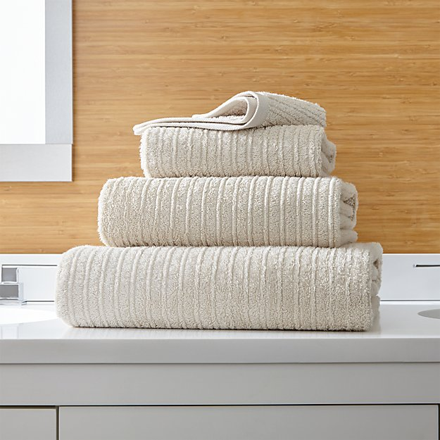 Ribbed Oyster Bath Towels - Image 1 of 3