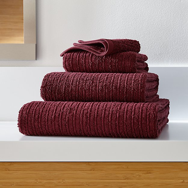 Ribbed Plum Bath Towels - Image 1 of 4