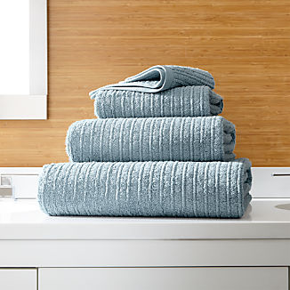 Ribbed Powder Blue Bath Towels