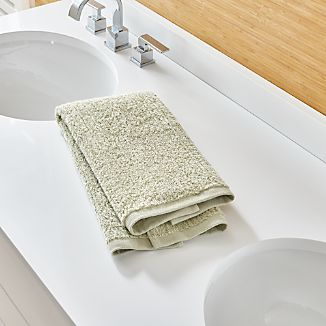 Ribbed Sage Green Hand Towel