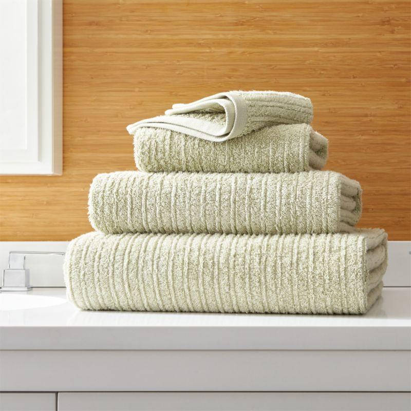 Ribbed Sage Green Bath Towels. Green Bathroom Accessories   Crate and Barrel