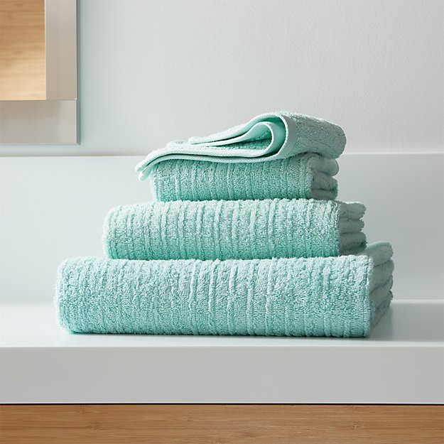Ribbed Seafoam Bath Towels Crate And Barrel