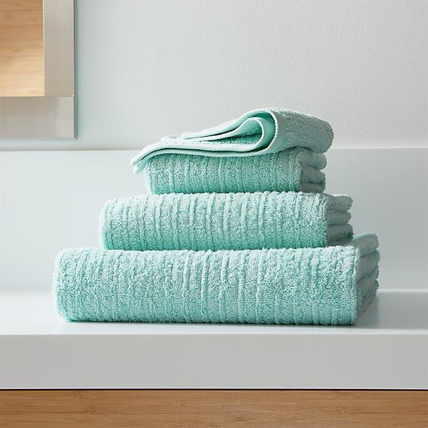 Ribbed Seafoam Bath Towels Crate and Barrel