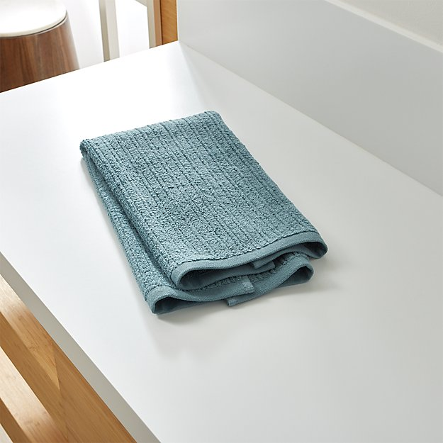 Ribbed Teal Hand Towel