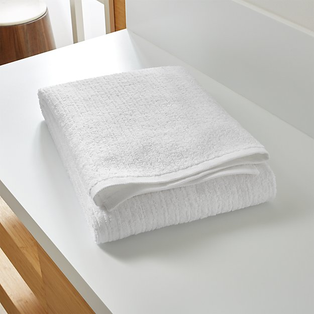 Ribbed White Bath Sheet