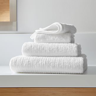 Ribbed White Bath Towels
