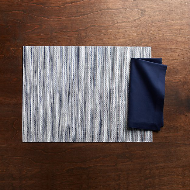 Chilewich ® Ridge Blue Placemat and Fete Navy Blue Cloth Napkin